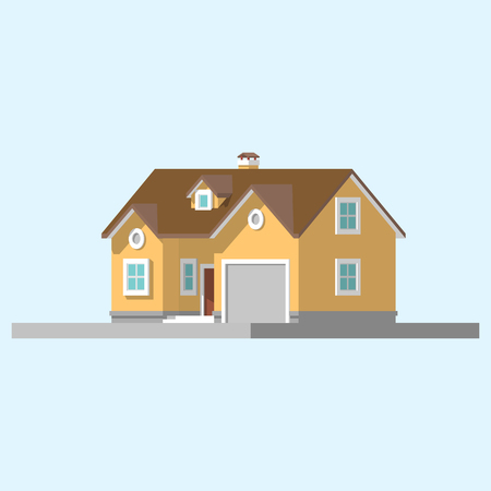 front porch: isometric image of a private house flat illustration