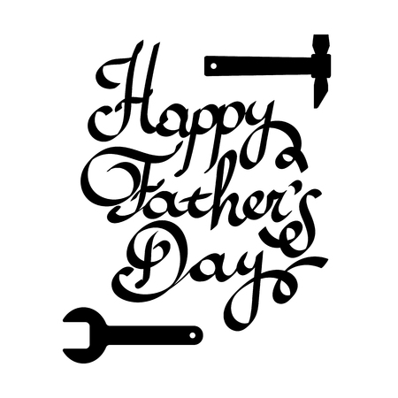 white day: Happy father day Lettering vector illustration. Typographical Background