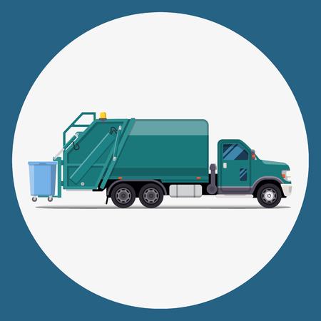camión de basura plano diseño moderno. Ilustración vectorial Ilustración de vector