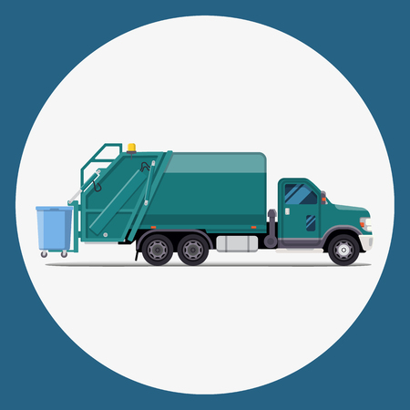 garbage truck flat modern design. Vector illustration