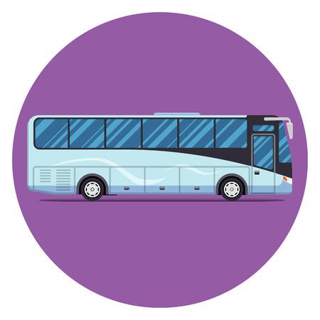 sity: bus sity transportation set. Modern flat design. Vector illustration