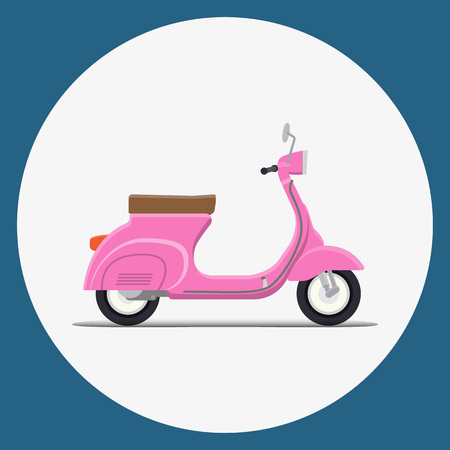 moped: Pinc Moped Flat vector illustration. retro design