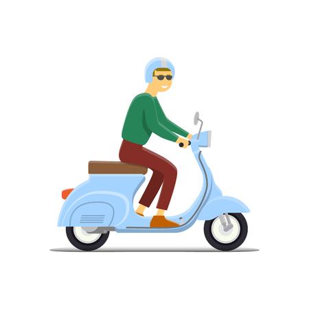 moped: Moped Flat vector illustration. Boy. Retro design