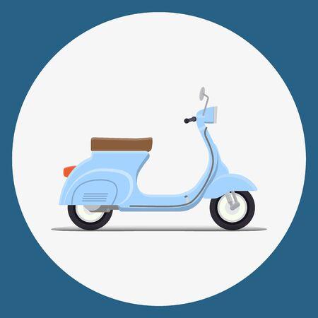 moped: Blue Moped Flat vector illustration. Retro design Illustration