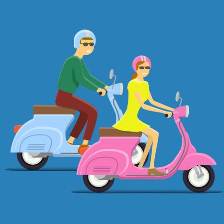moped: Moped Flat vector illustration. Boy and girl. Retro design Illustration