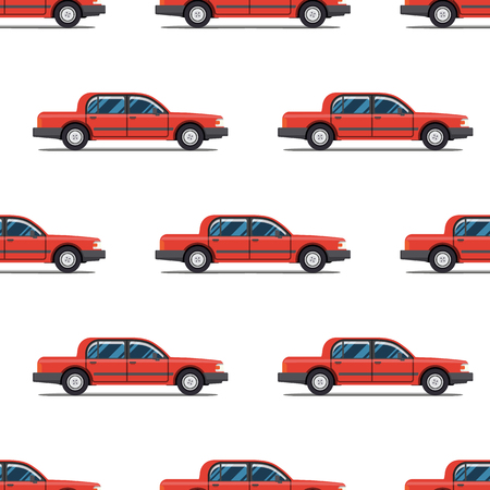 blue  red: seamless pattern of red luxary cars Limo sedans Illustration