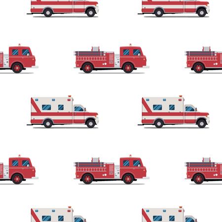 消防車と救急車のシームレスなパターン。ベクトル図