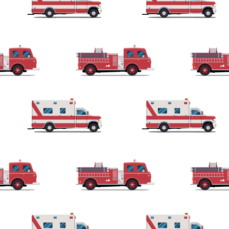 fire vector: seamless pattern of the fire engine and ambulance. Vector illustration Illustration