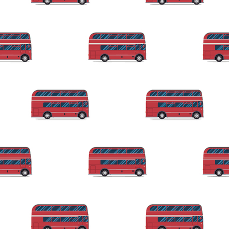 london bus: seamless pattern of the classic red double-decker London bus. Vector illustration