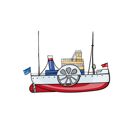 steamship: Hand drawn water transport kids toy steamship Vector illustration