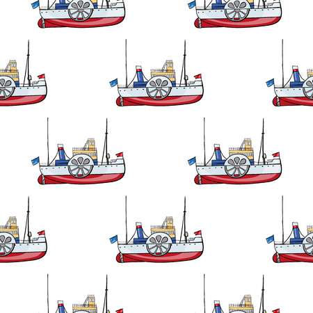the hovercraft: vector seamless pattern water transpor. kids toy steamship