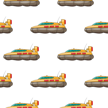 the hovercraft: vector seamless pattern. Hand drawn water transpor. kids toy hovercraft Illustration