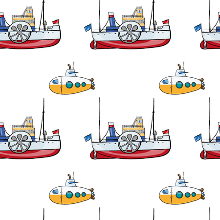 steamship: vector seamless pattern. Hand drawn water transpor. kids toy steamship, submarine