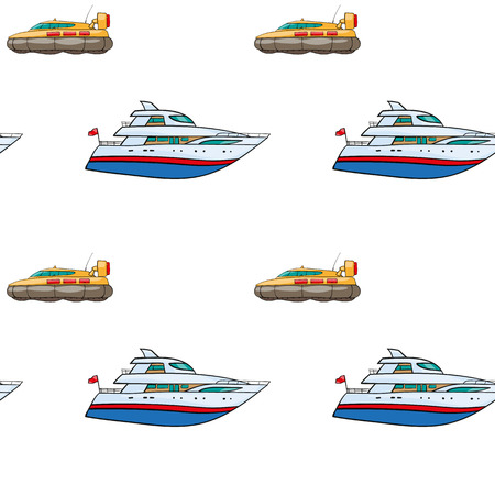 the hovercraft: vector seamless pattern. Hand drawn water transpor. kids toy yacht, submarine Illustration