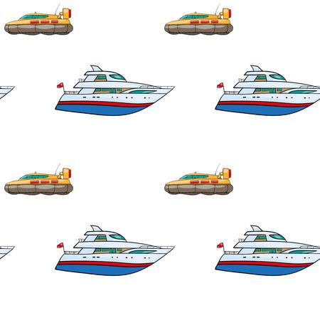 airbag: vector seamless pattern. Hand drawn water transpor. kids toy yacht, submarine Illustration