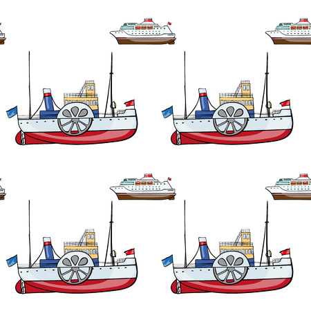 steamship: vector seamless pattern. Hand drawn water transpor. kids toy steamship, cruise