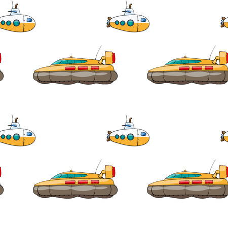 the hovercraft: vector seamless pattern. Hand drawn water transpor. kids toy hovercraft, submarine