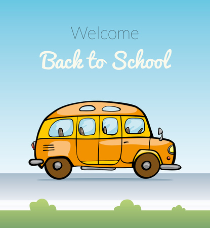 schoolbus: Back to School on schoolbus. illustration