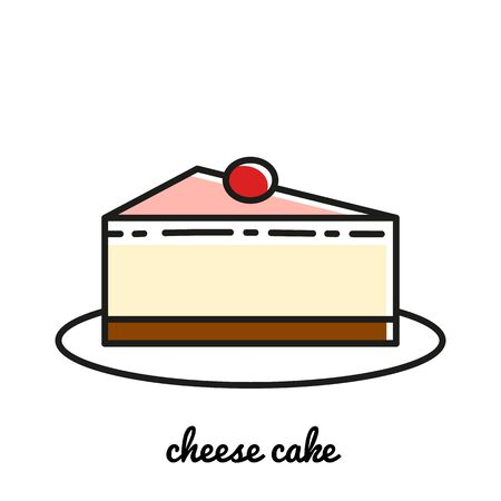 blueberry cheesecake: Line art cheese cake icon. Isolated illustrations. Infographic elements Illustration