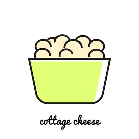 cottage cheese: Line art Cottage cheese icon. Isolated illustrations. Infographic element