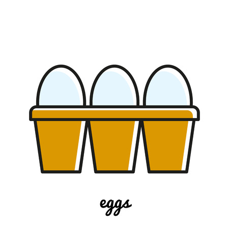 Line art eggs icon. Isolated illustrations. Infographic element