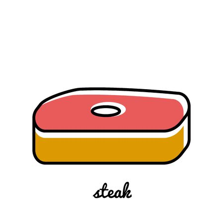 strip a cow: Line art steak icon. Isolated illustrations. Infographic element Illustration