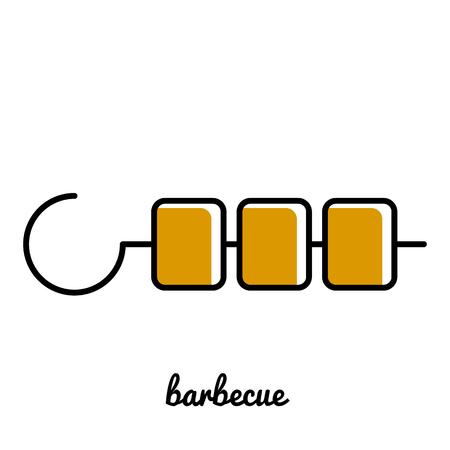 kabob: Line art shshlik icon. Isolated illustrations. Infographic element