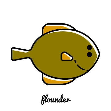 flounder: Line art flounder icon. Isolated illustrations. Infographic element