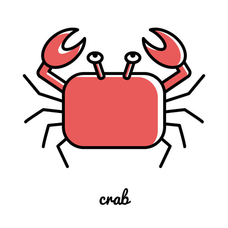 Line art crab icon. Isolated illustrations. Infographic element