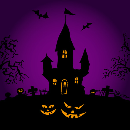 violette: Happy Halloween party on violette background, illustration