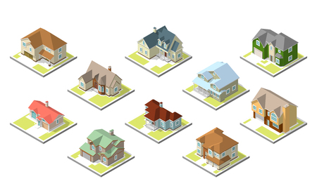 small town: isometric image of a private house set on white background