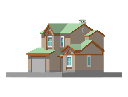 suburban street: image of a private house. vector illustration Illustration