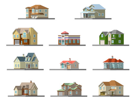 image of a private house. vector flat illustration Illustration