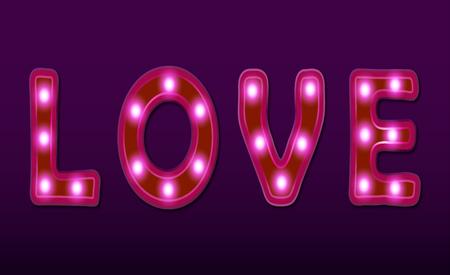 love neon light retro banner. Valentines day card.
