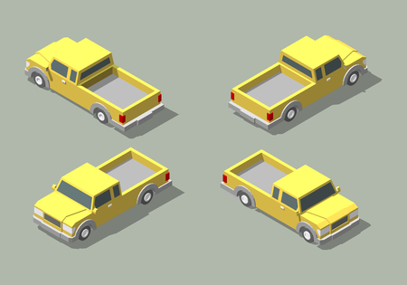 Vector isometric icon yellow pickup truck. Isolated on a green background