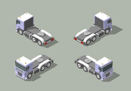 Cabine de camion en quatre vues isométrique icône vector illustration graphique design. Vecteurs