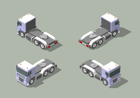 hauling: Truck cab in four views isometric icon vector graphic illustration design. Illustration