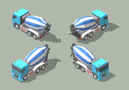 Bétonnière camion isométrique icône vector illustration graphique design.