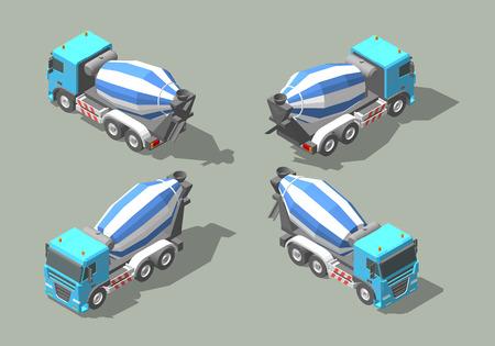 Diseño isométrico del ejemplo del gráfico de vector del icono del mezclador concreto del camión.