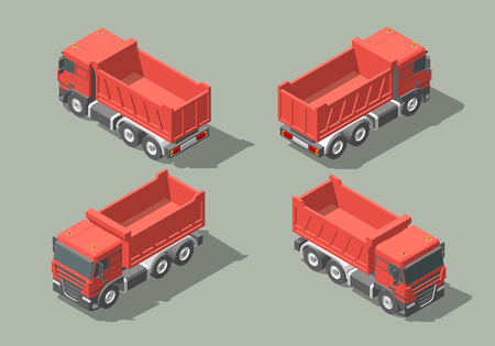 Tip truck isometric icon vector graphic illustration design.