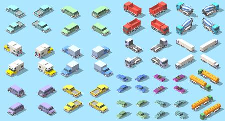 Transports set isometrische pictogram vector grafisch illustratie ontwerp. Infografische elementen