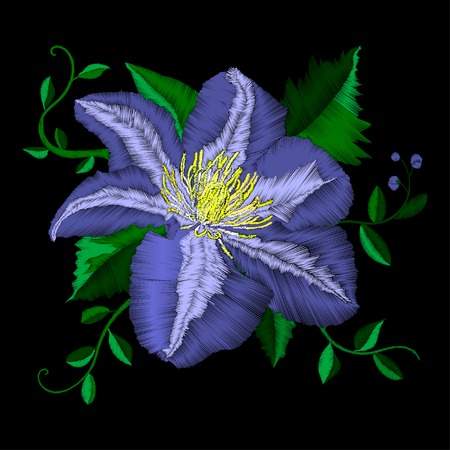 Embroidery blue flower angle pattern. Vector traditional folk blue clematis on black background for clothing design Illustration