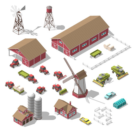 A set of 3D isometric elements for the infographics of a farm or game. Vector illustration of an isolated object on a white background
