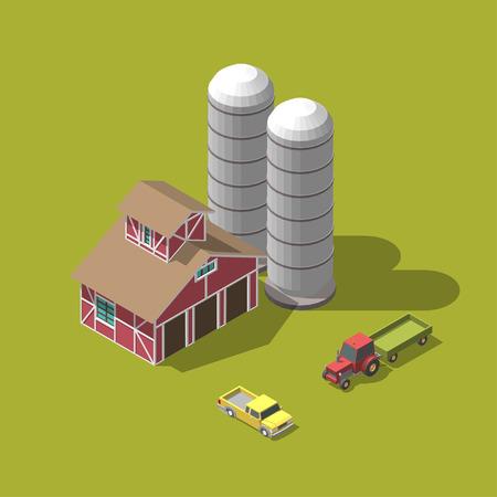 vector illustration. Harvesting wheat. isometric