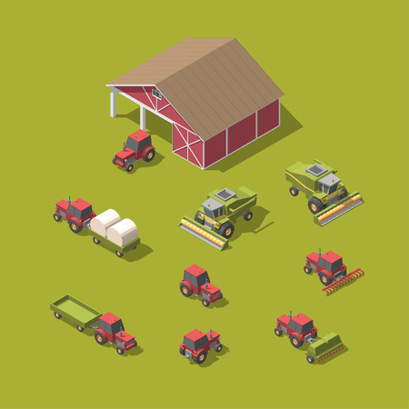 Set of vector agricultural machinery and workshop vector illustration