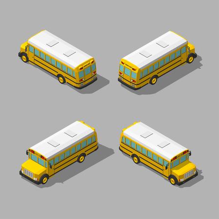 yellow schoolbus: Yellow isometric 3d school bus. Flat style vector illustration