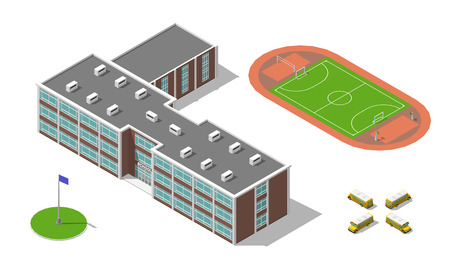schoolkids: Flat 3d isometric school building, bus, stadium isolated on white. Vector illustration isolated on white. Elements of infographic collection.