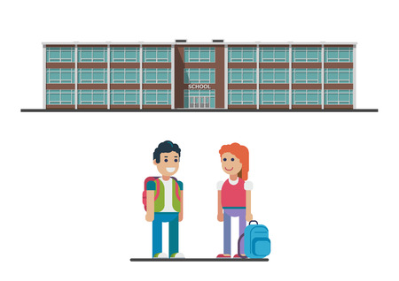 Welcome back to school. vector flat illustration