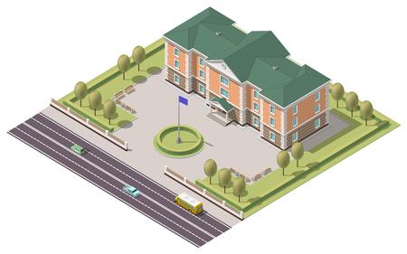 Isometric infographic element or university building. Illustration