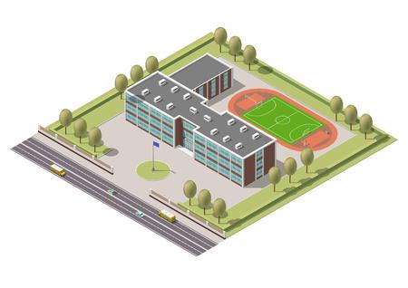 Vector isometric infographic element or university building. Flat illustration on white background Vettoriali